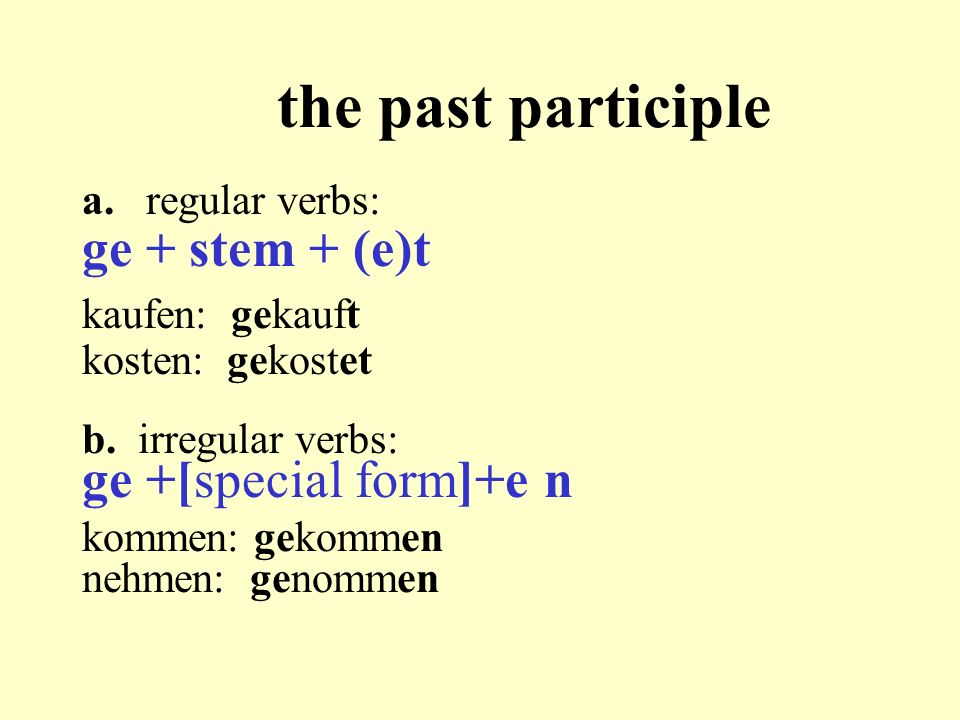 the past participle ge + stem + (e)t ge +[special form]+e n